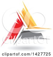 Triangular Abstract Artistic Red Orange And Gray Letter A Logo Or Icon Design With A Shadow