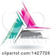 Triangular Abstract Artistic Turquoise Pink And Gray Letter A Logo Or Icon Design With A Shadow