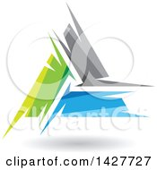 Triangular Abstract Artistic Green Gray And Blue Letter A Logo Or Icon Design With A Shadow