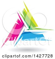 Triangular Abstract Artistic Pink Green And Blue Letter A Logo Or Icon Design With A Shadow
