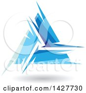 Clipart Of A Triangular Abstract Artistic Blue Letter A Logo Or Icon Design With A Shadow Royalty Free Vector Illustration