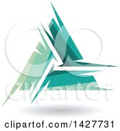 Clipart Of A Triangular Abstract Artistic Green Letter A Logo Or Icon Design With A Shadow Royalty Free Vector Illustration
