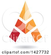Clipart Of A Triangular Orange Letter A Logo Or Icon Design With A Shadow Royalty Free Vector Illustration