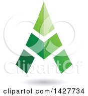 Clipart Of A Triangular Green Letter A Logo Or Icon Design With A Shadow Royalty Free Vector Illustration