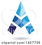 Clipart Of A Triangular Blue Letter A Logo Or Icon Design With A Shadow Royalty Free Vector Illustration