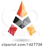 Clipart Of A Triangular Black And Orange Letter A Logo Or Icon Design With A Shadow Royalty Free Vector Illustration