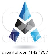 Clipart Of A Triangular Blue And Black Letter A Logo Or Icon Design With A Shadow Royalty Free Vector Illustration