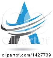 Triangular Blue Letter A Logo Or Icon Design With Swooshes And A Shadow
