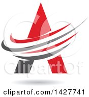 Triangular Red Letter A Logo Or Icon Design With Swooshes And A Shadow