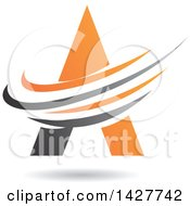 Triangular Orange Letter A Logo Or Icon Design With Swooshes And A Shadow