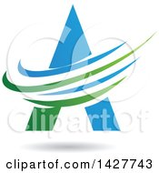 Triangular Blue And Green Letter A Logo Or Icon Design With Swooshes And A Shadow
