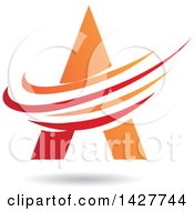 Triangular Red And Orange Letter A Logo Or Icon Design With Swooshes And A Shadow