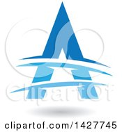 Triangular Blue Letter A Logo Or Icon Design With Lines And A Shadow