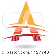 Triangular Red Orange And Yellow Letter A Logo Or Icon Design With Lines And A Shadow