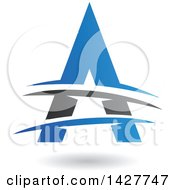 Triangular Blue And Black Letter A Logo Or Icon Design With Lines And A Shadow