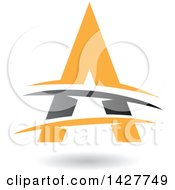 Triangular Gray And Yellow Letter A Logo Or Icon Design With Lines And A Shadow