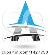 Triangular Blue Gray And Black Letter A Logo Or Icon Design With Lines And A Shadow