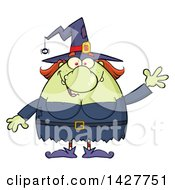 Clipart Of A Cartoon Fat Green Witch Waving Royalty Free Vector Illustration