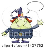 Clipart Of A Cartoon Fat Green Witch Talking And Waving Royalty Free Vector Illustration