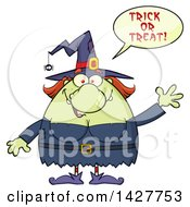 Clipart Of A Cartoon Fat Green Witch Saying Trick Or Treat And Waving Royalty Free Vector Illustration by Hit Toon