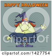 Clipart Of A Cartoon Fat Green Witch Waving Under Happy Halloween Text Royalty Free Vector Illustration