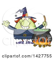Cartoon Fat Green Witch Gesturing Okay Or Perfect And Stirring A Cauldron