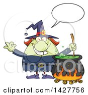Cartoon Fat Green Witch Talking Gesturing Okay Or Perfect And Stirring A Cauldron