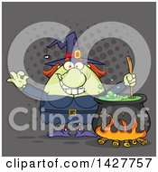 Cartoon Fat Green Witch Gesturing Okay Or Perfect And Stirring A Cauldron Over Gray Halftone