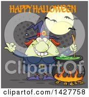 Clipart Of A Cartoon Fat Green Witch Gesturing Okay Or Perfect And Stirring A Cauldron With Happy Halloween Text Over Gray Halftone Royalty Free Vector Illustration