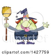 Clipart Of A Cartoon Fat Green Witch Welcoming With Open Arms And Holding A Broom Royalty Free Vector Illustration