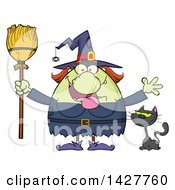 Clipart Of A Cartoon Fat Green Witch Welcoming With Open Arms And Holding A Broom By A Cat Royalty Free Vector Illustration by Hit Toon