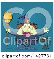 Clipart Of A Cartoon Fat Green Witch Welcoming With Open Arms And Holding A Broom By A Cat Over Blue Halftone Royalty Free Vector Illustration