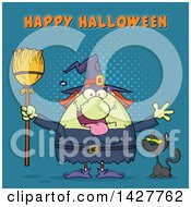 Clipart Of A Cartoon Fat Green Witch Welcoming With Open Arms And Holding A Broom By A Cat With Happy Halloween Text Over Blue Halftone Royalty Free Vector Illustration