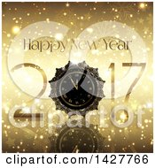 Clipart Of A Golden Happy New Year 2017 Design With A Clock On Gold Stars And Snowflakes Royalty Free Vector Illustration