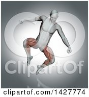 3d Anatomical Man Jumping With Visible Leg Muscles On Gray