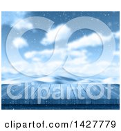 Clipart Of A 3d Wood Deck Or Table Against A Snowy Winter Landscape Royalty Free Illustration