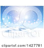 Clipart Of A 3d Hilly Winter Landscape With Snow And A Sunny Sky Royalty Free Illustration