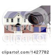 Clipart Of A 3d CCTV Surveillance Camera And Blurred House On White Royalty Free Illustration