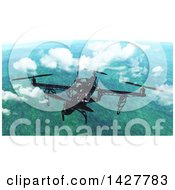 Clipart Of A 3d Metal Quadcopter Drone Flying Above The Clouds Over A Landscape Royalty Free Illustration