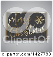 Clipart Of A Gold Merry Christmas And Snowflake On A Board Over Gray Royalty Free Vector Illustration