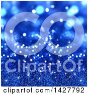 Clipart Of A Blue Glitter And Bokeh Background Royalty Free Illustration