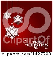 Clipart Of A White Merry Christmas Greeting And Suspended Snowflakes On Red Royalty Free Vector Illustration