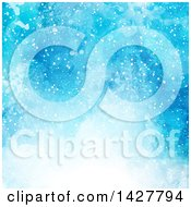Clipart Of A Blue Watercolor And Snowflake Background Royalty Free Vector Illustration