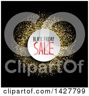 Clipart Of A Black Friday Sale Design With Gold Glitter On Black Royalty Free Vector Illustration by KJ Pargeter