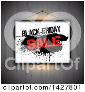 Clipart Of A Hanging Black Friday Sale Sign Over Wood Royalty Free Vector Illustration by KJ Pargeter