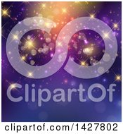 Clipart Of A Purple Background With Sparkly Lights And Bokeh Flares Royalty Free Vector Illustration