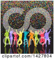 Clipart Of A Group Of Silhouetted Colorful Dancers With Confetti On Black Royalty Free Vector Illustration