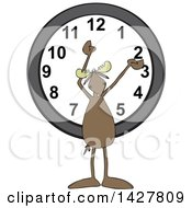 Clipart Of A Cartoon Moose Holding His Arms Up Over A Wall Clock Royalty Free Vector Illustration