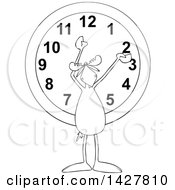Clipart Of A Cartoon Black And White Moose Holding His Arms Up Over A Wall Clock Royalty Free Vector Illustration