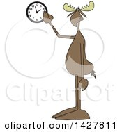 Clipart Of A Cartoon Moose Pointing At A Wall Clock Royalty Free Vector Illustration